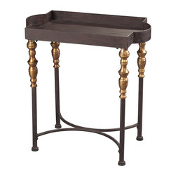 Sterling Industries - Dudley Small Accent Table in Dark Bronze and Gold - Dudley Accent Table in Dark Bronze with Dark Red Antique by Sterling Industries