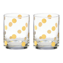 Kate Spade New York by Lenox - Kate Spade Pearl Place Double Old-Fashioned Glasses, Set of 2 - Classic styling with the gleam of gold-tone accents defines this set. With the perfect amount of contemporary flair, these glasses are perfect for any cocktail hour.