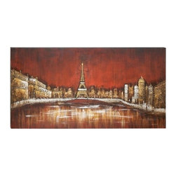 """Benzara - Cityscape on Water Canvas Art 55""""W, 28""""H Wall Decor - Cityscape on Water Canvas Art 55""""W, 28""""H Wall Decor"""