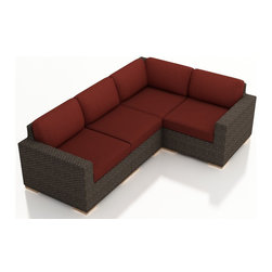 Harmonia Living - Arden 4 Piece Modern Patio Sectional Set, Henna Cushions - The 4 Piece Arden Sectional Set with Red Sunbrella® Cushions (SKU HL-ARD-4SEC-CH-HN) exudes a modern, relaxing style to any outdoor space, turning it into a center ready for entertaining and enjoying of the sun outdoors. Each seat is accompanied with comfortable, fast-drying cushions covered in Sunbrella fabric, known in the industry for the best mildew and fade resistant outdoor fabrics. Each strand of wicker is infused with a warm Chestnut, textured finish made from High-Density Polyethylene (HDPE) with UV protection, ensuring long-lasting color despite anything the outdoors has in store for it. Each set piece also features a thick-gauged aluminum frame that is corrosion resistant, giving this set fantastic structural integrity. Complete with sturdy teak wood feet that are outfitted with plastic glides to allow you to endlessly rearrange the set without scuffing your patio or deck.