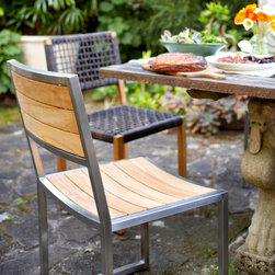 Outdoor Furniture Collection - Lennox dining chair in Stainless steel and wirebrushed teak