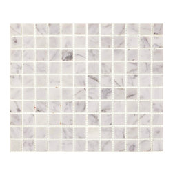 "Tile Circle - Carrara Marble Polished 1"" X 1"" Squares Tile, 12x12 - Perfect for kitchen backsplashes or bathroom floor and wall tile installations."