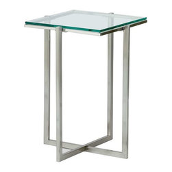 Adesso - Adesso Glacier Small Pedestal, Satin Steel - Each piece has a .25 in tempered clear glass top with satin steel legs and frame. 14.25 in Square , 19.5 in Height. Glass: 12.5 in Square. Criss-crossed base: 10.5 in Width