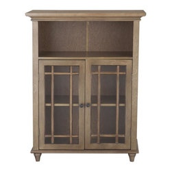 Elegant Home Fashions - Harrington Floor Cabinet with 2 Doors - The Harrington Floor Cabinet with Two Doors from Elegant Home Fashions is made of MDF with wood veneer in a reclaimed wood finish and offers sleek lines for a modern look.   This cabinet features two tempered glass doors accented with grid-work design and beveled molding. This unit offers plenty of storage space with one open shelf and one interior adjustable shelf making it easy to store items of different heights.  Antique Bronze door knobs showcase the modern design. This cabinet comes with assembly hardware.