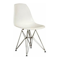 Wholesale Interiors - Vinyl Side Chairs with Chrome Base in White - Set of 2 - Many uses - in the home, office, caf�, reception area, or training room. Clean, simple form sculpted to fit the body. Shells are recyclable polypropylene. Wire base are made from chromed steel. This set of 2 Wholesale Interiors chairs features in white color option.