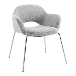 "LexMod - Cordelia Dining Armchair in Light Gray - Cordelia Dining Armchair in Light Gray - Participate in renewed growth and actualization with the Cordelia Side Chair. Sit comfortably as an aspirational back and up-surging arms compliment a dual-tone tweed fabric cushion. Sleek chrome legs solidify the progress as unlocked potentials are established with ease. Set Includes: One - Cordelia Armchair Comfort combined with solid form, Dual-tone upholstered tweed cushion, Chrome legs with non-marking feet Overall Product Dimensions: 24""L x 25.5""W x 31""H Seat Height: 19""H Armrest Height: 25""H - Mid Century Modern Furniture."