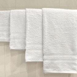 White 100% Cotton Bath Towels Double Cam 20x40 - 6 White 100% Cotton Hotel Bath Towels Double Cam 20x40 by Ramayan Supply.