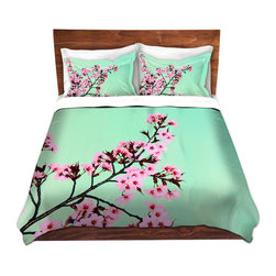 DiaNoche Designs - Duvet Cover Microfiber - Green Honey - DiaNoche Designs works with artists from around the world to bring unique, artistic products to decorate all aspects of your home.  Super lightweight and extremely soft Premium Microfiber Duvet Cover (only) in sizes Twin, Queen, King.  Shams NOT included.  This duvet is designed to wash upon arrival for maximum softness.   Each duvet starts by looming the fabric and cutting to the size ordered.  The Image is printed and your Duvet Cover is meticulously sewn together with ties in each corner and a hidden zip closure.  All in the USA!!  Poly microfiber top and underside.  Dye Sublimation printing permanently adheres the ink to the material for long life and durability.  Machine Washable cold with light detergent and dry on low.  Product may vary slightly from image.  Shams not included.