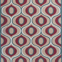 """Serafina 2917 Beige/Red Tertulia Rug - Serafina 2917 Beige/Red Tertulia 27"""" x 45"""". Hand-Woven of 100% Wool Printed Reversible Dhurry with No Backing. Made in India. Vacuum regularly & spot clean stains. Professional cleaning recommended periodically."""