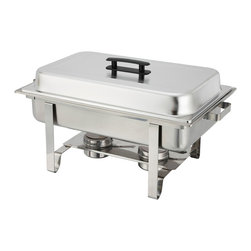 Winco - Winco 8-Quart Newburg Stainless Steel Rectangular Chafing Dish - Entertain in style with the simple and elegant Newburg chafer from Winco. Ideal for serving food in a buffet setting,this oblong 8-quart chafing dish is made of heavyweight stainless steel with a mirror-finished cover.