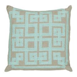 "Surya - Surya 18 x 18 Decorative Pillow, Oatmeal and Robin's Egg Blue (LD010-1818P) - Surya LD010-1818P 18"" x 18"" Decorative Pillow, Oatmeal and Robin's Egg Blue"