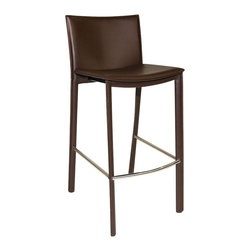 Moe's Home Collection - Moe's Home Panca Barstool in Brown (Set of 2) - Fully upholstered barstool