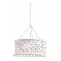 Arteriors - Jarrod Pendant, Small, White - Transitional 1-light hand carved wooden drum shade pendant in whitewash finish with tiny perforations for detail and texture. Topped with an interior mirror border allowing light to disperse downward and through the holes across the surface of the shade.
