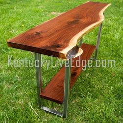 Custom Live Edge Console Table With Shelf On Steel Frame - Dana Rogers
