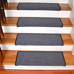 "Dean Flooring Company - Dean Peel and Stick Non-Skid Bullnose Wraparound Carpet Stair Treads 30""W, Silve - Bullnose Peel and Stick Wraparound Non-Skid Carpet Stair Treads!"