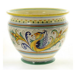 Artistica - Hand Made in Italy - RAFFAELLESCO: Luxury Cachepot/Planter SM - RAFFAELLESCO Collection: Among the most popular and enduring Italian majolica patterns, the classic Raffaellesco traces its origin to 16th century, and the graceful arabesques of Raphael's famous frescoes.