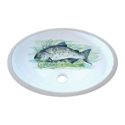 Decorated Porcelain Company - Big Fish Hand Painted Sink - Redoing your lake house, fishing lodge or cabin? Add something special to the bathroom with this beautifully painted salmon in hues of green and blue on a white center drain under mount sink. All of our fixtures are hand-made to order in the USA and kiln-fired for long-lasting durability.