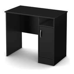South Shore - Kids Small Desk in Black - Accessories not included. Metal handle in a pewter finish. Narrow configuration help to fit it in tight spaces. Two storage spaces separated by one adjustable shelf behind the door. Open storage space, to keep the essentials within easy reach. Two holes in the back panel which allows for easy wire management. Laminated particle board. Warranty: Five years. Made in Mexico. Assembly required. 35.5 in. W x 19.5 in. D x 30.25 in. H (52 lbs.). Assembly InstructionsThis Axess small work desk is the perfect answer to organize your childs room. Its compact design includes all the space you need for a well-organized workspace.