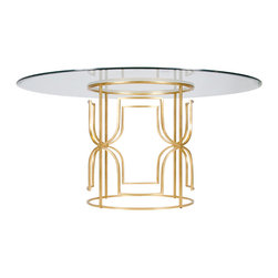 "Worlds Away - Worlds Away Gold Leaf Dining Table with 48""Dia Glass Top JENNIFER G48 - Worlds Away Gold Leaf Dining Table with 48""Dia Glass Top JENNIFER G48"