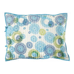 "Rhadi Living - Medallion Pillow Sham 20x26"" Blue/Green - Inspired by ikat and medallion block prints, this medallion, ikat and zig zag design repeats randomly over a great expanse of white in two color ways.  The print catches your eye as you try to follow the mesmerizing patchwork and repeat. Each quilt and sham is handmade, hand printed with cotton voile and cotton batting. Machine wash cold separately, delicate cycles, tumble dry low, do not bleach, iron at medium setting if necessary."