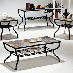 Yuan Tai - Sashay 3-Pc Occasional Table Set - Includes rectangular cocktail table and two end tables. Sofa table not included. One shelf. Stone top. Rod iron legs. Warranty: Six months limited. Black color. Assembly required. Cocktail table: 48 in. W x 24 in. D x 21 in. H. End table: 24 in. W x 24 in. D x 24 in. H. Overall weight: 173 lbs.