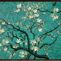 """overstockArt.com - Branches of an Almond Tree in Blossom by Vincent Van Gogh Oil Painting - 30"""" x 40"""" Oil Painting On Canvas Hand painted oil reproduction of a famous Van Gogh painting , Branches of an Almond Tree in Blossom. The original masterpiece was created in 1890. Today it has been carefully recreated detail-by-detail, color-by-color to near perfection. Van Gogh created this painting as a gift for his newborn nephew. The way he made is brush strokes were fitting to the baby because he combined a sense of fragility and energy. A joyous and hopeful image for the child's future. Vincent Van Gogh's restless spirit and depressive mental state fired his artistic work with great joy and, sadly, equally great despair. Known as a prolific Post-Impressionist, he produced many paintings that were heavily biographical. This work of art has the same emotions and beauty as the original. Why not grace your home with this reproduced masterpiece? It is sure to bring many admirers!"""