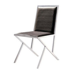 Armen Living Stracco Side Chair - Set of 2 - Built from sturdy stainless steel and upholstered in textured chocolate leatherette, the Armen Living Stracco Side Chair - Set of 2 are durable and easy to clean. These simple, modern side chairs make a beautiful addition to just about any dining table (sold separately).About Armen LivingImagine furniture without limits - youthful, robust, refined, exuding self-expression at every angle. These are the tenets Armen Living's designers abide by when creating their modern furniture collections. Building on more than 30 years of industry experience, Armen Living combines functional versatility and expert craftsmanship into their dramatic furniture styles, all offered at price points fit for discriminating budgets. Product categories include bar stools, club chairs, dining tables, ottomans, sofas, and more. Armen Living is based in Sun Valley, Calif.