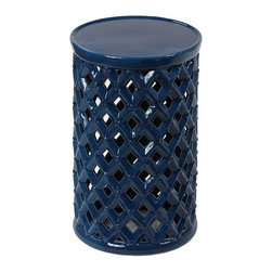 Privilege - Privilege Ceramic Ocean Blue Garden Stool - Ceramic garden stools make useful places to set a drink or place a houseplant. I love the indigo hue of this beauty.