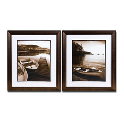 Uttermost - Island Transport Framed Art, Set of 2 - Get that water view without having to move. These stunning black and white prints capture the beauty of island life. Each of the tranquil images come in a white mat and bronze and black wood frame.