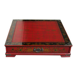 Golden Lotus - Red Leather Chinese Traditional Chess Board Set - Red Leather Chinese Traditional Chess Board Set