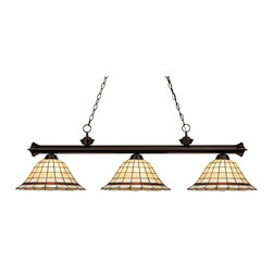Z-Lite - Z-Lite Riviera Bronze 3 Light Billiard Light X-5-41Z-ZRB3-002 - Elegant and traditional best describes this beautiful three light fixture. Finished in oil rubbed bronze and paired with decorative tiffany glass shades, this three light fixture would be equally at home in the game room, or anywhere else in the house needing a touch of timeless charm. 72 inches of chain per side is included to ensure a perfect hanging height.
