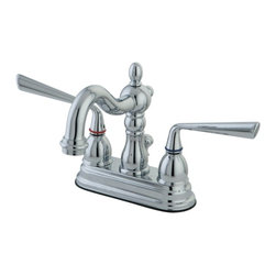 "Kingston Brass - Two Handle 4"" Centerset Lavatory Faucet with Brass Pop-up KS1601ZL - Two Handle Deck Mount, 3 Hole Sink Application, 4"" Centerset, Fabricated from solid brass material for durability and reliability, Premium color finish resist tarnishing and corrosion, 1/4 turn On/Off water control mechanism, 1/2"" IPS male threaded shank inlets, Duraseal washerless cartridge, 2.2 GPM (8.3 LPM) Max at 60 PSI, Integrated removable aerator. Manufacturer: Kingston Brass. Model: KS1601ZL. UPC: 663370181818. Product Name: Two Handle 4"" Centerset Lavatory Faucet with Brass Pop-up. Collection / Series: Silver Sage . Finish: Polished Chrome. Theme: Classic. Material: Brass. Type: Faucet. Features: Drip-free ceramic cartridge system"