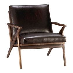 Caavett Chair - Relax back to another modern time. The mid-century lines of this swank leather chair capture all that was great about '50s design. Luxe full-grain, full-aniline leather cushions in a saturated dark brown beckon at a slight recline on a richly grained American walnut frame with dramatic streamlined angles, a cantilevered seat and a vertical slat back. Each chair is distinguished by the unique characteristics of its beautiful leather, finished with oils and wax for an authentic look that will develop an even richer patina over time.