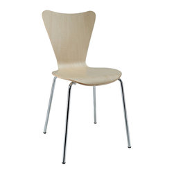 Accent Decor - Ernie Side Chair, Natural - Minimalist in nature though it may be, this seat doesn't skimp on comfort. Its seemingly rigid design, flexes to the contours of the human body, making it a great side chair for homes and businesses alike.