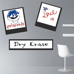 """Dry Erase Wall Decals - Design pack includes two 15""""x15"""" and one 29""""x8"""" polaroid decals (Shown in black), but choose any color for the polaroid background color."""