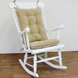 None - Tan Ribbed Microfiber Standard Rocking Chair Cushion Set - Your wooden or metal rocking chair will become instantly more comfortable when you tie on this tufted rocking chair cushion set in classic tan. This cushion is filled with a thick layer of polyester fiberfill that makes it soft and plush.