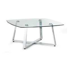 Zuo Modern - Zuo Modern Lemon Drop Small Coffee Table Clear Glass - Sinuous chrome legs intersect under the tempered glass top of the Lemon Drop Coffee Table. A nice foil for all those photography tomes. Comes in small and long, sold separately.