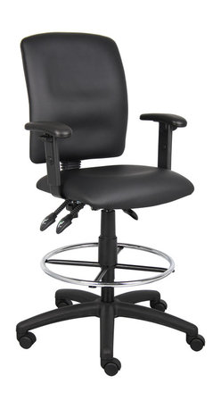 """Boss Chairs - Boss Chairs Boss Multi-Function LeatherPlus Drafting Stool with Adjustable Arms - Upholstered in black Leather plus. Back angle lock allows the back to lock throughout the angle range for perfect back support. Seat tilt lock allows the seat to lock throughout the tilt range. Pneumatic gas lift seat height adjustment. Nylon base. Hooded double wheel casters. Adjustable arms. 20"""" diameter chrome footring."""