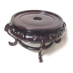 n/a - Mahogany Finish Chinese Porcelain Bowl Stand, 4 Inches Wide X 4 Inches High - Beautiful mahogany finish.Our Mahogany fishbowl stands are finished in dark mahogany color with clear lacquer coat.  Can use as a plant stand or a vase stand.