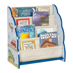 Guidecraft - Guidecraft Moving All Around Book Display Multicolor - G86500 - Shop for Childrens Bookcases from Hayneedle.com! A beautiful way to store your child s favorite books the Guidecraft Moving All Around Book Display features an adorable hand-painted trains planes and automobiles motif. The easy-to-clean canvas storage pockets are designed to hold both books and magazines.About GuidecraftGuidecraft was founded in 1964 in a small woodshop producing 10 items. Today Guidecraft's line includes over 160 educational toys and furnishings. The company's size has changed but their mission remains the same; stay true to the tradition of smart beautifully crafted wood products which allow children's minds and imaginations room to truly wonder and grow.Guidecraft plans to continue far into the future with what they do best while always giving their loyal customers what they have come to expect: expert quality excellent service and an ever-growing collection of creativity-inspiring products for children.