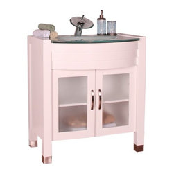 """Alya Bath - Elite Collection 30"""" Single Modern Bathroom Vanity, White - This is a single sink bathroom vanity with cherry colored cabinet of size 30 x 33.5 x 22 inches. Add the mirror space of 30 x 33 inches along with it. It can prevent the moisture easily."""