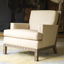 """Global Views - Global Views Furniture Williamsburg Dickinson Club Chair - Impeccable attention to quality, detail and the exclusive use of natural materials provide Global Views products an allure all their own. The exquisite Williamsburg Dickinson club chair combines modern design elements and traditional architectural lines. Beautifully carved detailing on its wooden back, splat and legs displays an artistic stroke that is revealed when positioned away from the wall. Sleek ivory leather adds a sophisticated tone. 32.5""""W x 38.5""""D x 36""""H."""