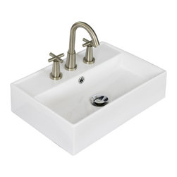 American Imaginations - 20-in. W x 14-in. D Wall Mount Rectangle Vessel - It features a rectangle shape. This vessel is designed to be installed as an wall mount vessel. It is constructed with ceramic. It is designed for a 8-in. o.c. faucet. The top features a 5-in. profile thickness. This vessel comes with a enamel glaze finish in White color. Simple and clean wall mount rectangular white ceramic vessel This Vessel features Brushed Nickel hardware. Double fired and glazed for durability and stain resistance. Quality control approved in Canada and re-inspected prior to shipping your order. Faucet and accessories not included.