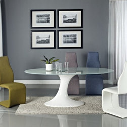 Creative Furniture - Luisa 7 PC Dining Set in White - Decorate your dining room with this beautiful, beautiful, stylish, modern, trendy, comfortable and unusual dining set. This set of treat Luisa Collection. The set includes one oval dining table and six dining chairs. The chairs in this set have an unusual shape. They will be a great accent to your dining room.    Set includes only WHITE Chairs.    Features: