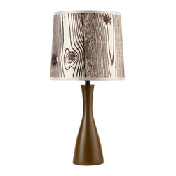 """Lights Up - Contemporary Lights Up! Faux Bois Shade Olive Finish Oscar Table Lamp - This vibrant table lamp from Lights Up! and designer Rachel Simon is a fun and lively way to bring color to a room. The Oscar base features an olive finish and an hourglass shape. The artistic imitation of wood shade is eco-friendly and is made from 100-percent recycled plastics and is printed using water-based inks. Lights Up! by Rachel Simon. Olive finish base. Faux bois light shade. 100-percent recycled shade. Takes one 60 watt bulb (not included). Shade is 8"""" across top and bottom 9"""" high. 18"""" high.  Lights Up! by Rachel Simon.   Olive finish base.   Faux bois light shade.   100-percent recycled shade.   A small table lamp design.  Takes one 60 watt bulb (not included).   Shade is 8"""" across top and bottom 9"""" high.   18"""" high."""