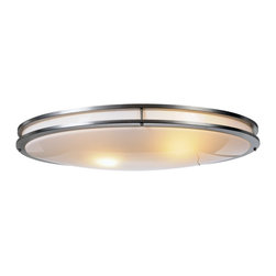 Premier - Indoor Oval Ceiling Fixture - Brushed Chrome - AF Lighting 614011 32-1/4in. L by 17in. W by 4-3/4in. D Indoor Fluorescent Oval Ceiling Fixture, Brushed Chrome.