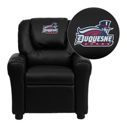 "Flash Furniture - Duquesne University Dukes Embroidered Black Vinyl Kids Recliner - Get young kids in the college spirit with this embroidered college recliner. Kids will now be able to enjoy the comfort that adults experience with a comfortable recliner that was made just for them! This chair features a strong wood frame with soft foam and then enveloped in durable vinyl upholstery for your active child. This petite sized recliner is highlighted with a cup holder in the arm to rest their drink during their favorite show or while reading a book.; Duquesne University Embroidered Kids Recliner; Embroidered Applique on Oversized Headrest; Overstuffed Padding for Comfort; Durable Black Vinyl Upholstery; Easy to Clean Upholstery with Damp Cloth; Cup Holder in armrest; Solid Hardwood Frame; Raised Black Plastic Feet; Intended use for Children Ages 3-9; 90 lb. Weight Limit; Meets or Exceeds CA117 Fire Resistance Standards; Safety Feature: Will not recline unless child is in seated position and pulls ottoman 1"" out and then reclines; Assembly Required: Yes; Country of Origin: China; Warranty: 2 Years; Dimensions: 27""H x 24""W x 21.5 - 36.5""D"