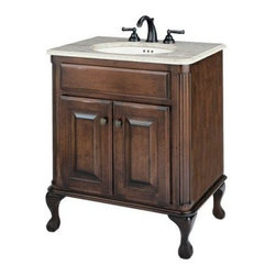 "Cole + Co. Medium Classic Single Bathroom Vanity in Antique Brown - What We Like About the Medium Classic Vanity in Antique BrownThe Medium Classic Vanity in Antique Brown offers an elegant hand-crafted cabinet made with fine quality hardwood maple. The wood has been finished by hand and with a deep antique brown stain. Queen Anne legs and decorative front panels speak of quality. Create the exact look you desire by selecting the countertop faucet set and sink that best matches your decor. The faucet sets are available in two styles and finishes and made with the highest quality materials. The countertops are made of rich marble that will last a lifetime. Under mount sinks are made of vitreous china or copper and include sink clips. The two-door cabinet beneath the non-functional drawer offers handy storage for towels and other items.Plumbing hardware is not included. Professional installation is recommended.Vanity Specifications Top Dimensions: 0.75"" H x 31"" W x 22"" D Backsplash Dimensions: 4"" H x 29.5"" W x 0.75"" D Inside Sink Dimensions: 14"" x 17"" Overall Sink Dimensions: 6"" H x 19"" W x 16"" D Faucet Dimensions: 4.5"" H x 14"" W x 6.5"" DOption without faucet includes 3 pre-drilled holes for 8"" faucet spread"