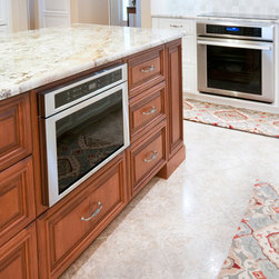 """Alva Remodel - Island with Smithport Cabinets. Autumn Blush Stain on Maple. Thermador 24"""" drawer microwave."""