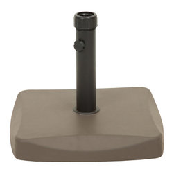 Great Deal Furniture - Bossier Square Brown Concrete Iron Umbrella Base - The Bossier umbrella base ensures that your umbrella will remain securely intact with style and practicality. Built out of concrete, the 55-pound base can accommodate an umbrella as large as 12 feet. The base rod features a tightening knob to easily secure any sized umbrella pole. Place one under your dining set to provide a shady and relaxing outdoor dining experience with your favorite outdoor umbrella.
